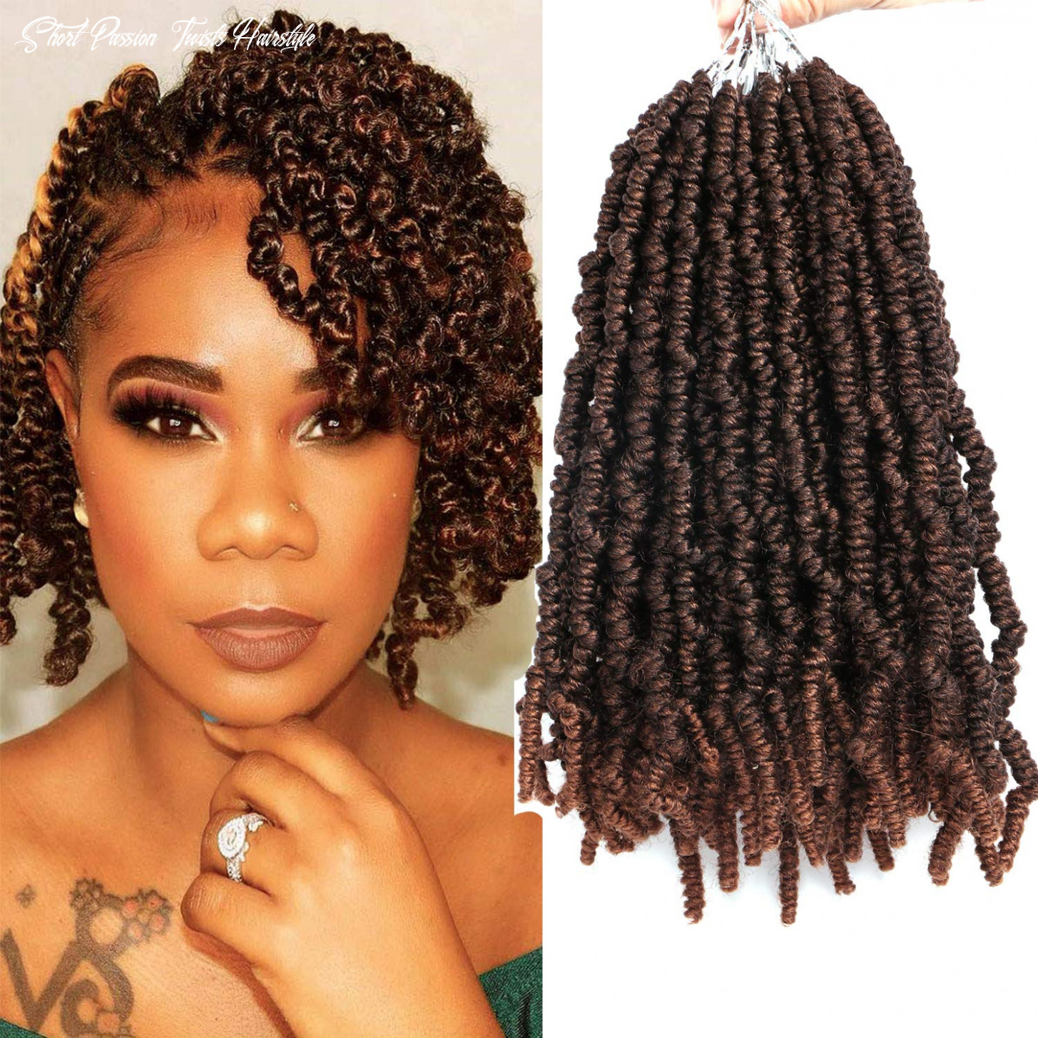1111 packs 1111 inch pre looped spring twist hair short curly passion twist crochet braids fiber fluffy wavy synthetic braiding hair extensions (t11b/11#) short passion twists hairstyle