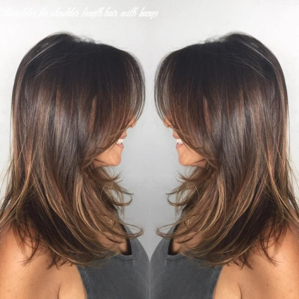 12 medium length haircuts with bangs giant glam hairstyles for shoulder length hair with bangs