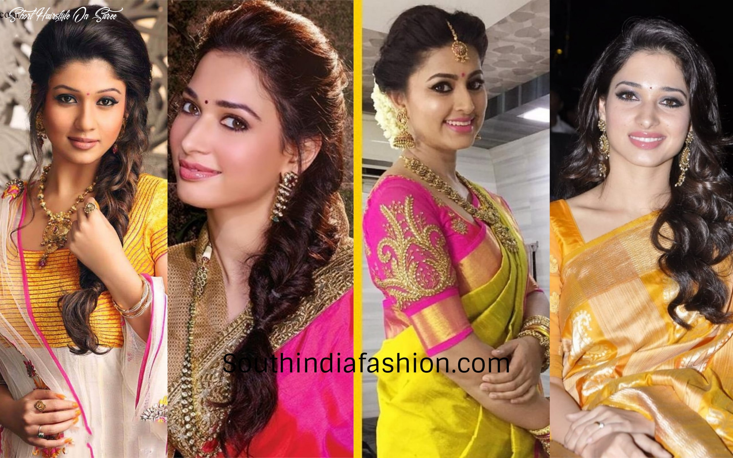 8 best hairstyles when you are dressed in a silk saree!! short hairstyle on saree