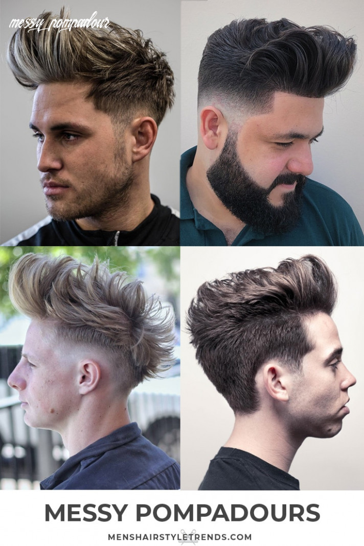 8 pompadour haircuts hairstyles for men (8 styles) messy pompadour