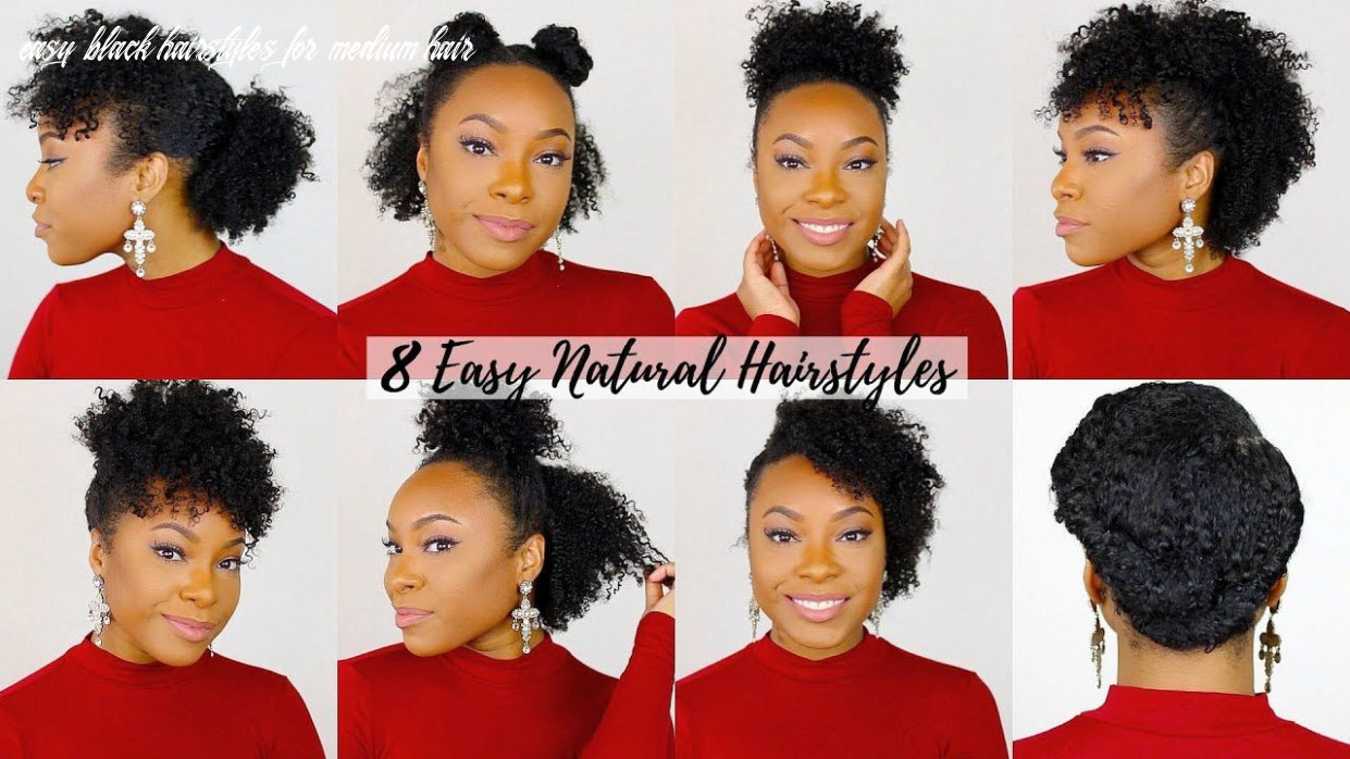 8 quick & easy hairstyles for short medium hair | natural hair