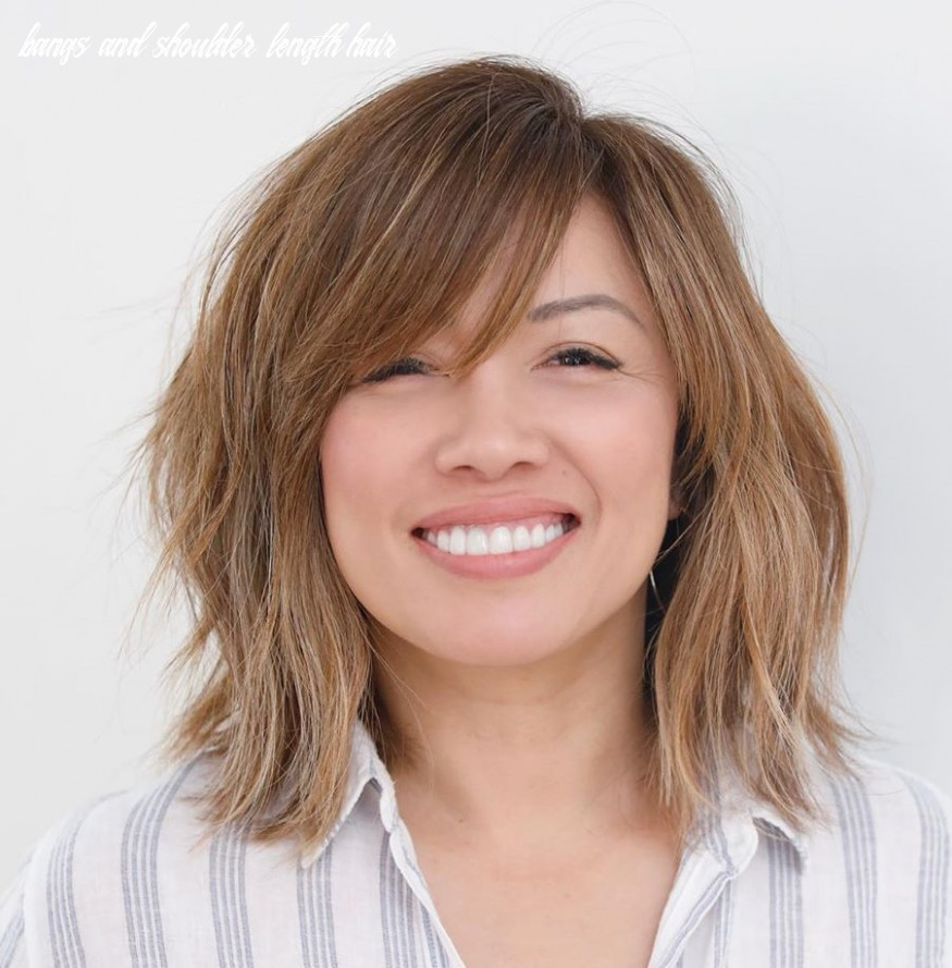 8 trendy haircuts and hairstyles with bangs in 8 hair adviser bangs and shoulder length hair