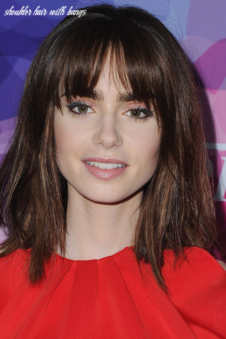9 best medium hairstyles celebrities with shoulder length haircuts shoulder hair with bangs