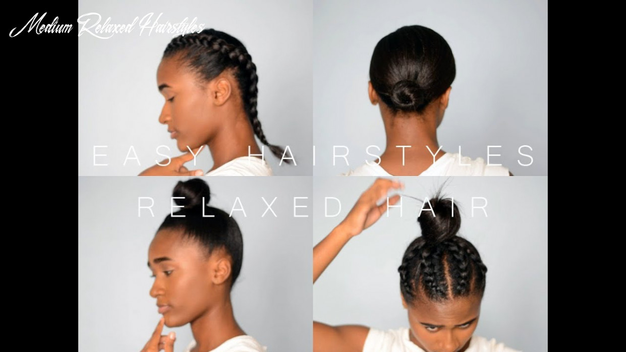 9 easy hairstyles in 9 mins!!! | relaxed hair (protective hairstyles)|| melina singh| medium relaxed hairstyles