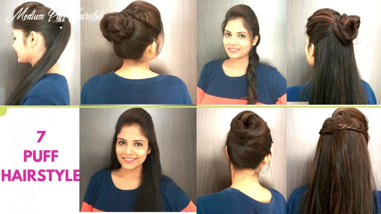 9 everyday puff hairstyles for medium hair   quick easy puff hairstyles for school/college/work medium puff hairstyle
