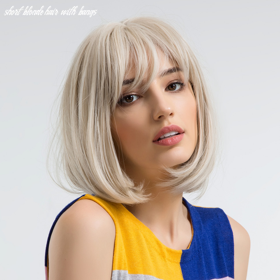 9 inch synthetic bob wigs with bangs short blonde straight party