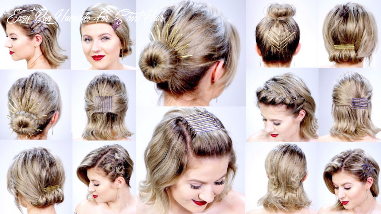 9 super easy hairstyles with bobby pins for short hair | milabu easy bun hairstyle for short hair