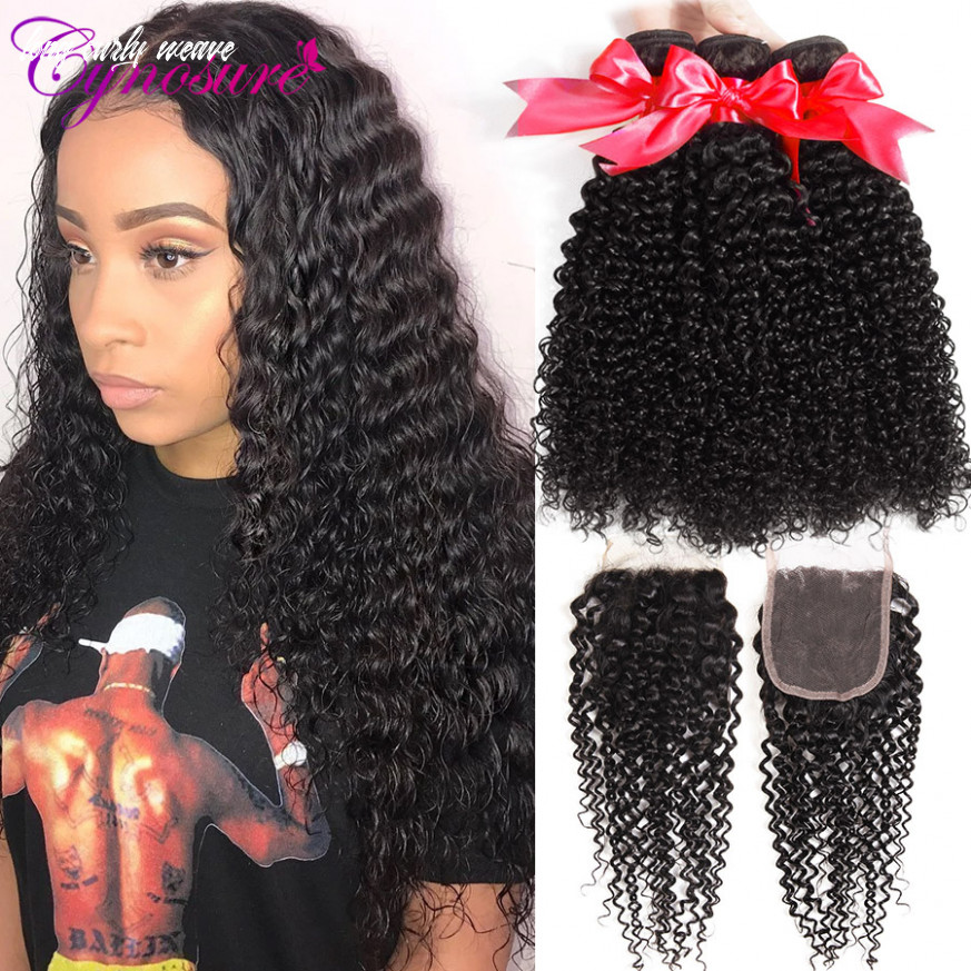 Afro kinky curly weave human hair bundles with closure cynosure brazilian hair weave 10 bundles with closure remy hair long curly weave