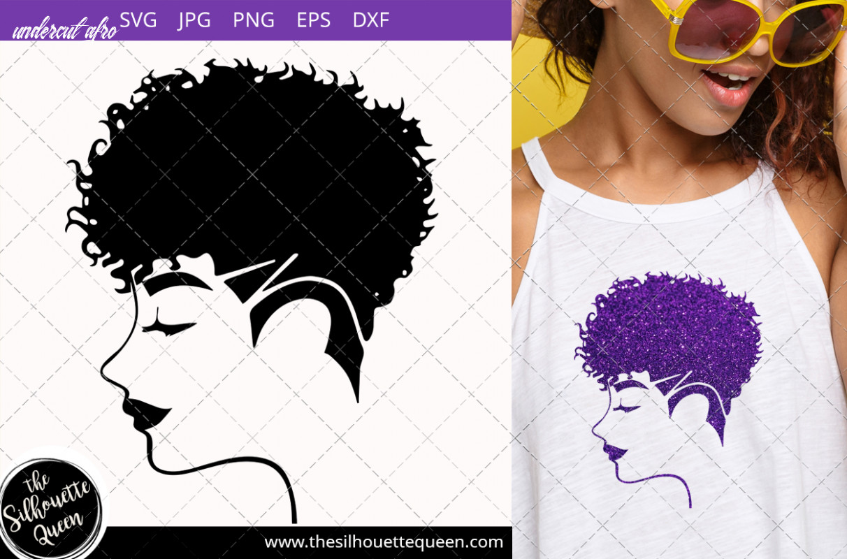 Afro woman with curly pixie undercut undercut afro