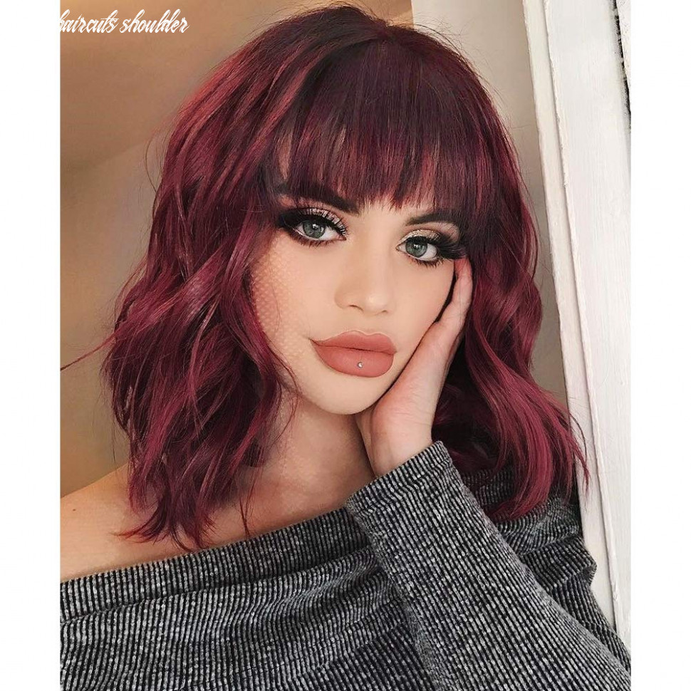 Aisi hair synthetic curly bob wig with bangs short bob wavy hair wig wine red color shoulder length wigs for women bob style synthetic heat resistant