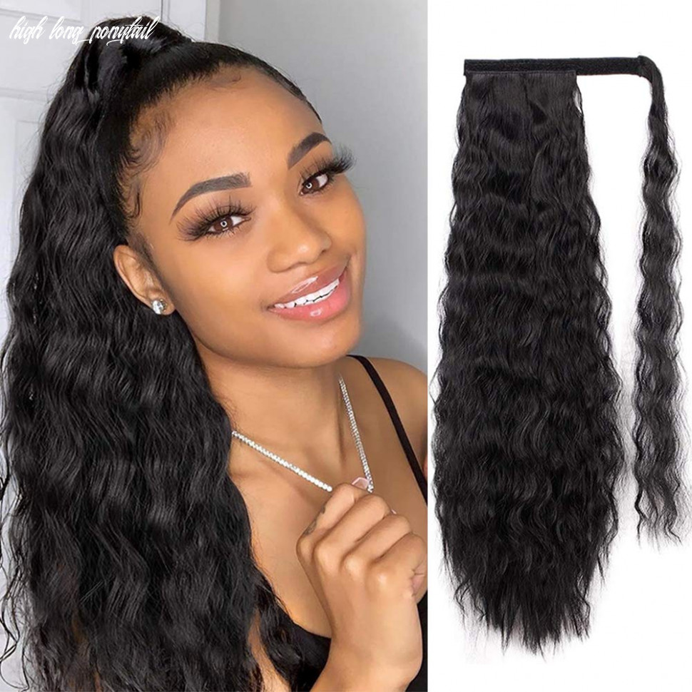 Aisi queens long ponytail extensions for black women synthetic 11 inch curly wrap around black ponytail corn wave ponytail hairpiece magic paste black