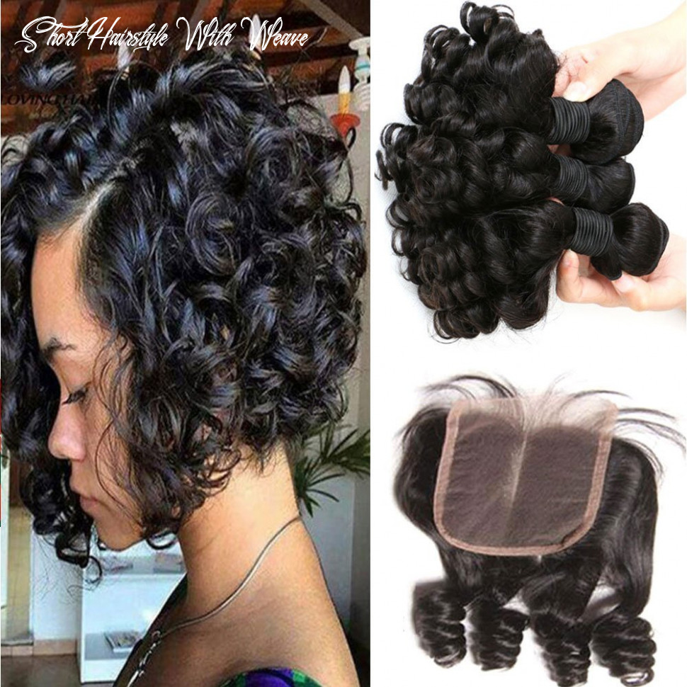 Aliglossy brazilian virgin hair funmi hair with closure short bob weave hairstyles bouncy curly weave with closure 9% unprocessed 9a hair extensions