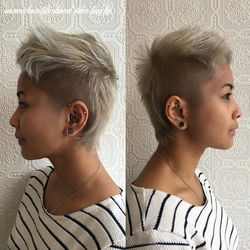 All sizes | short platinum blonde mullet with shaved sides and
