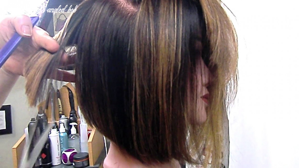 Angled bob graduated and texturized shoulder length angled bob