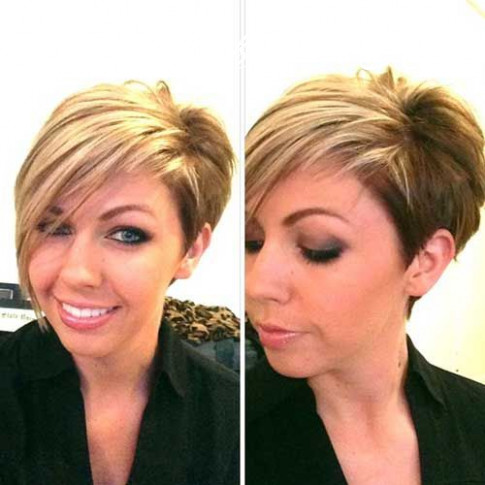 Asymmetrical short haircut with dark and blonde color see more