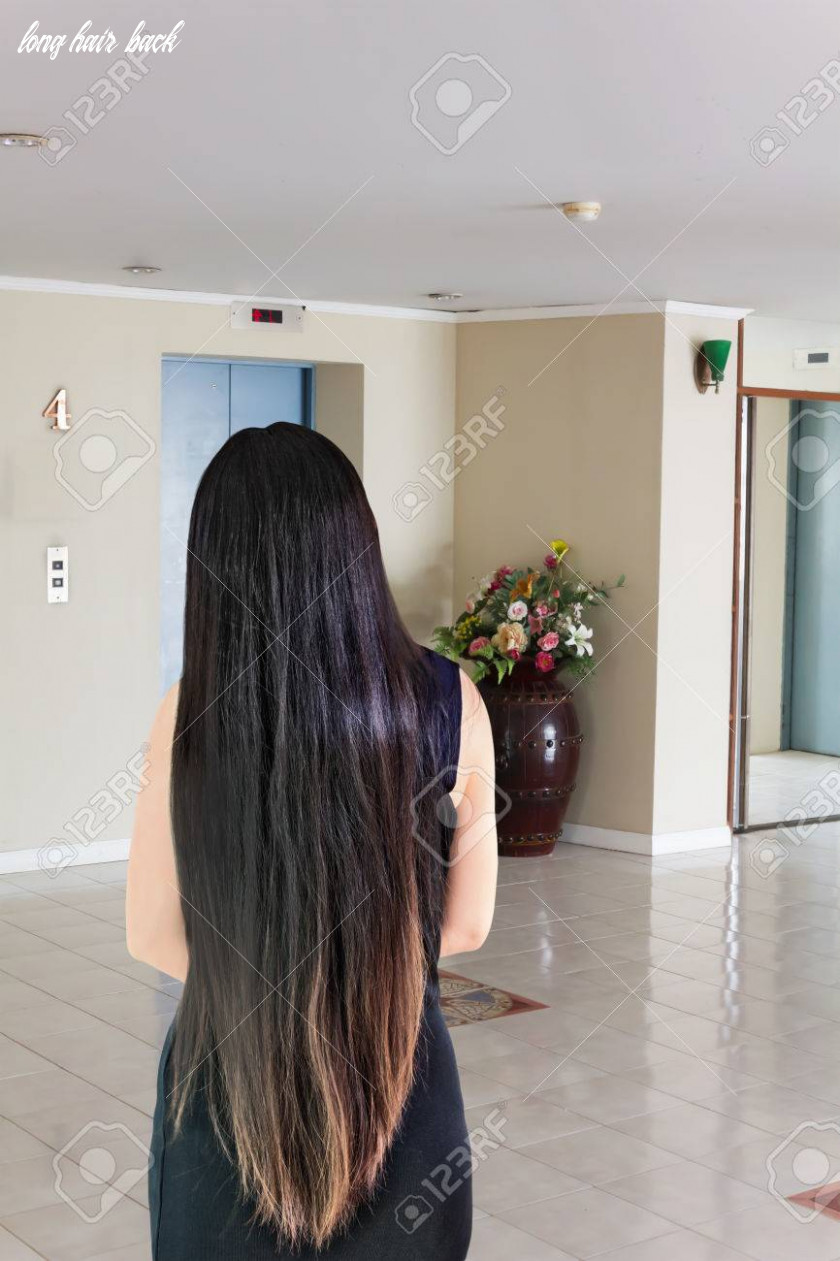 Back side or rare view of black and coloured dry long hair women