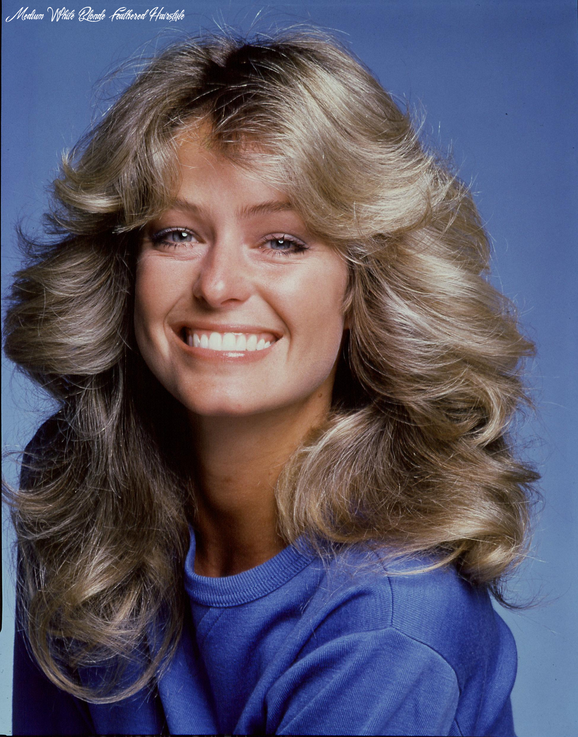 Back to the past and check out farrah fawcett hairstyles medium white blonde feathered hairstyle