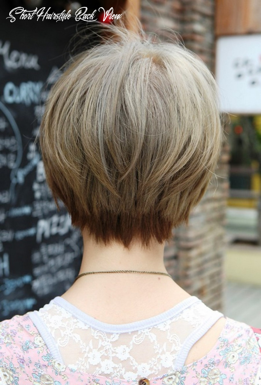 Back view of trendy short straight hairstyle | hairstyles cool short hairstyle back view