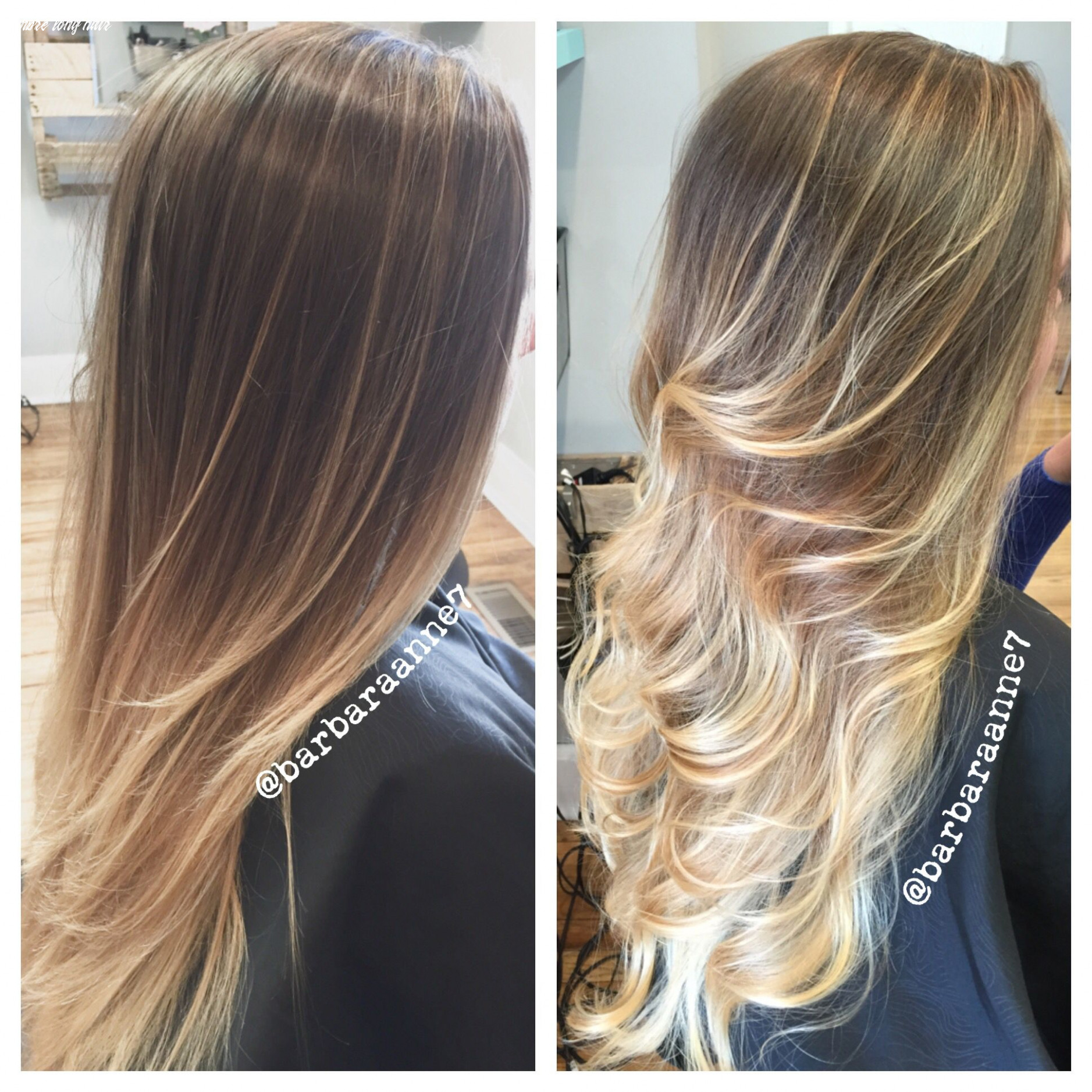Balayage ombré, straight & curled, long hair, blonde hair