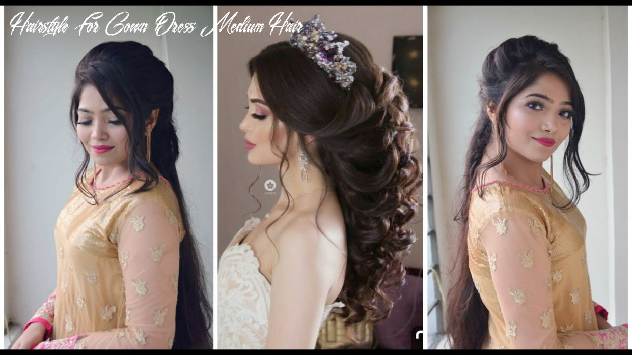 Beautiful messy puff hairstyle with gown / dress | party hairstyle for medium hair hairstyle for gown dress medium hair