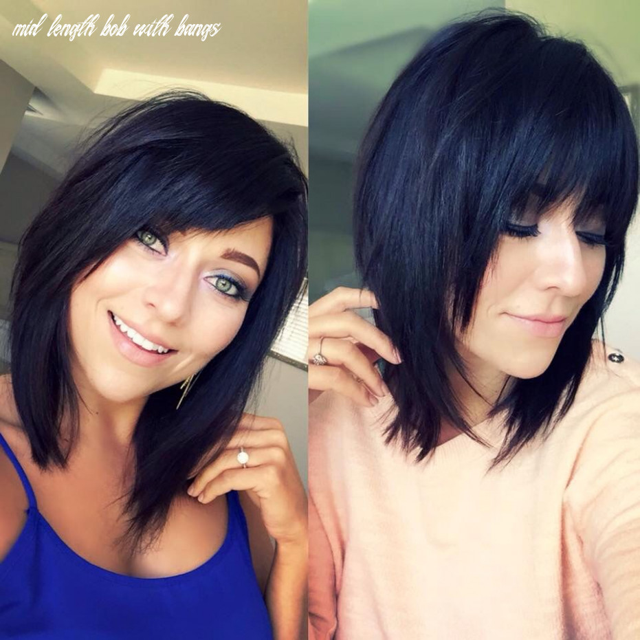 Beautiful mid length brunette bob with a lot of layers, texture