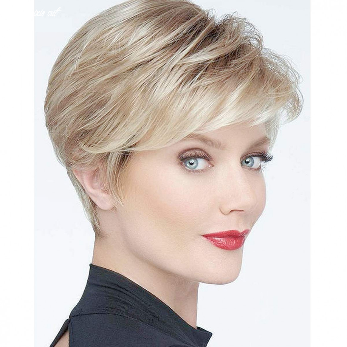 Becus pixie cut perücke short fluffy synthetic blonde mixed brown