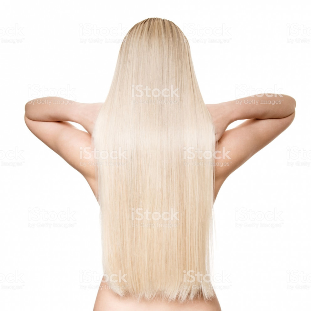 Blond Woman With Long Straight Hair Back View Isolated Stockfoto ...