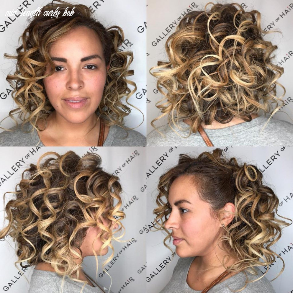 Blonde back pinned curly bob with highlights | by hairstyleology