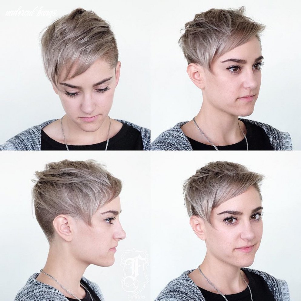 Blonde undercut pixie with messy texture and side swept ba… | flickr undercut bangs
