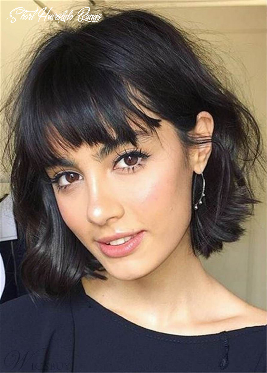 Bob short human hair with bangs straight capless wigs 11 inches