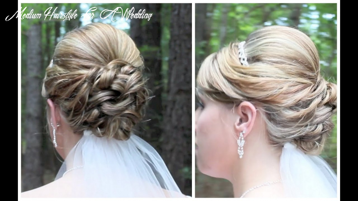 Bridal updo on shoulder length hair medium hairstyle for a wedding