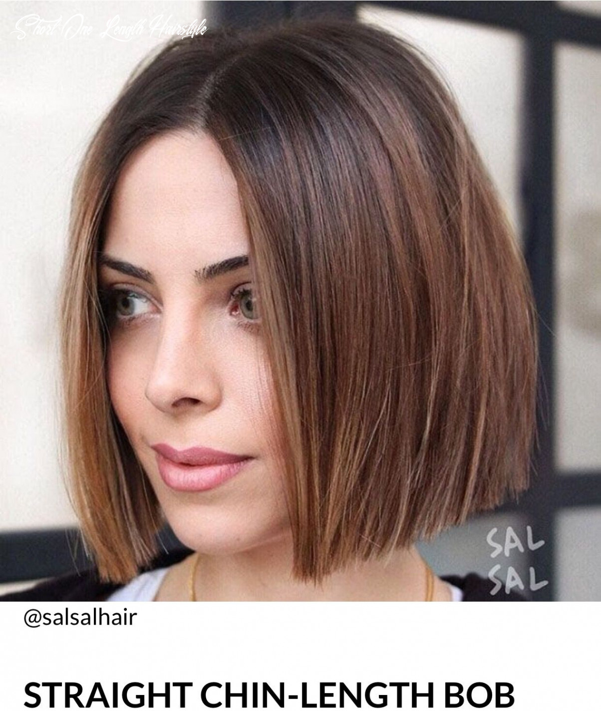 Brown highlights, bob, one legnth   straight bob hairstyles, thick