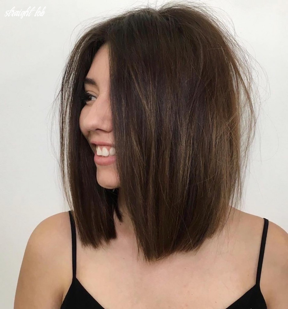 Brunette one length lob with voluminous messy straight tex… | flickr straight lob