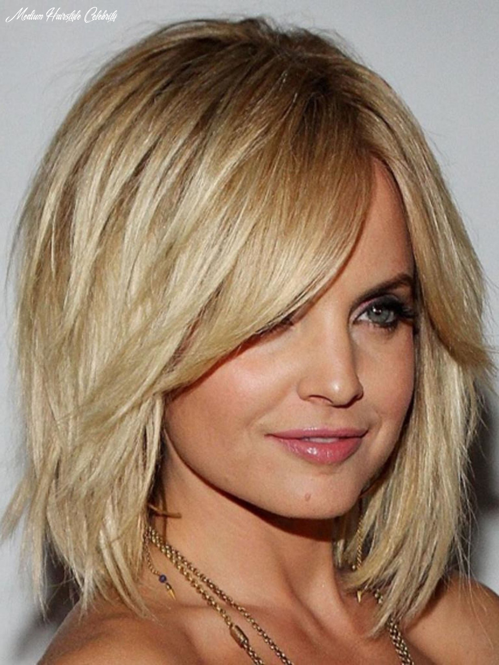 Celebrity Medium Length Synthetic Hair Capless Blonde Wig