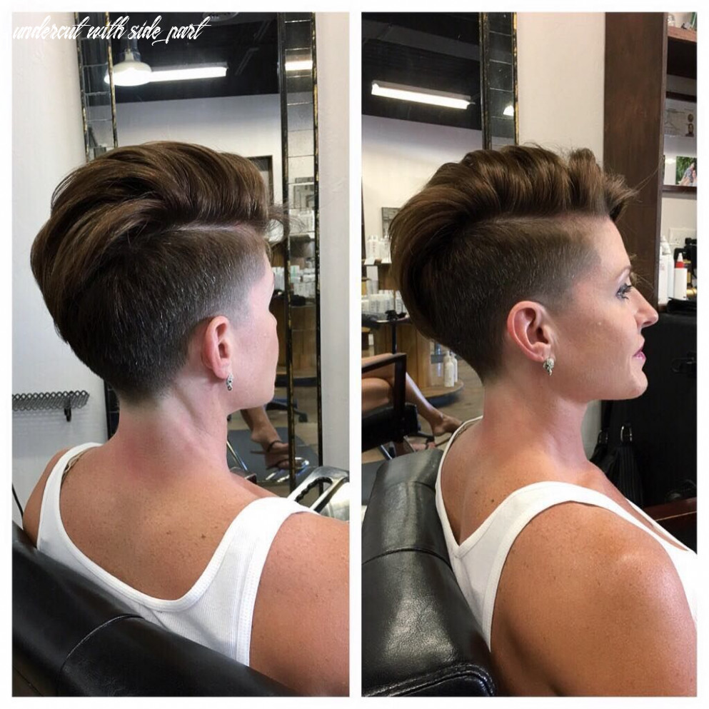 Chic tapered undercut with side part on brunette hair | thick hair