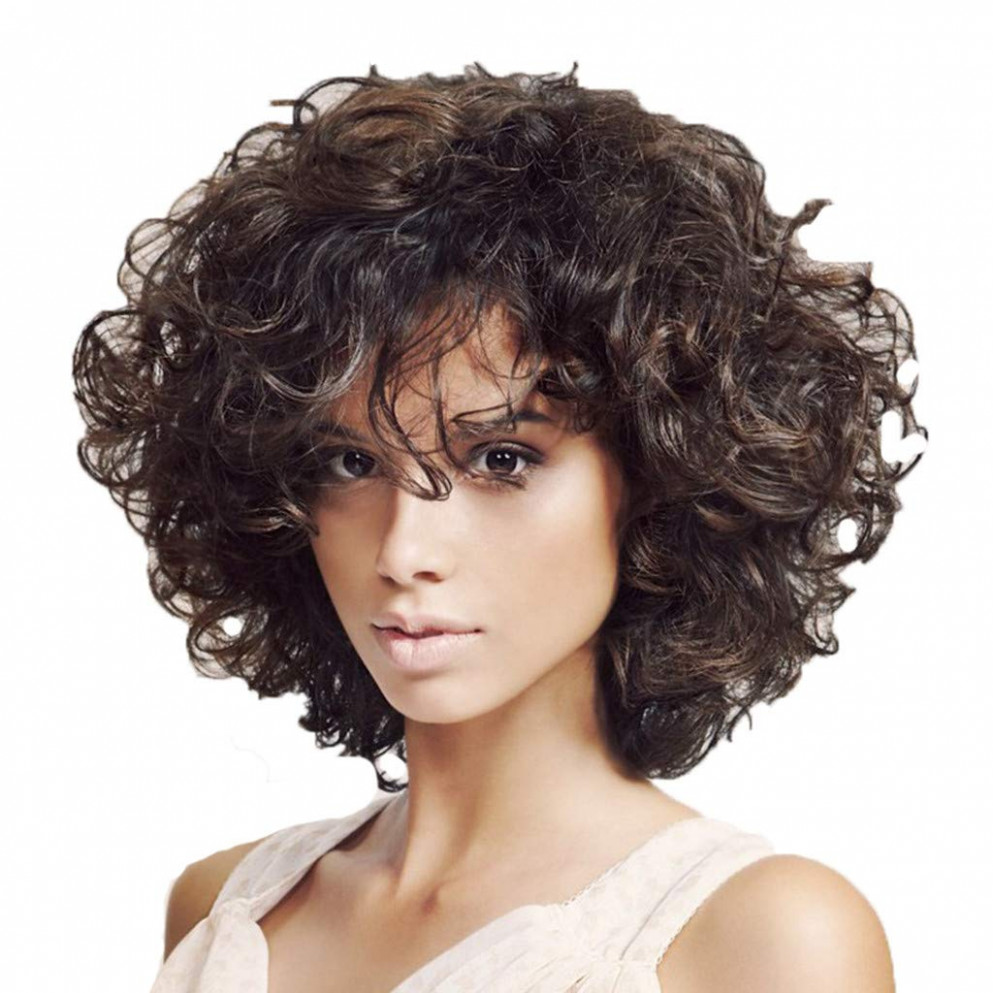 Clearance afro bob wig for brazilian black womens short curly hair full wig heat resistant synthetic fiber african womens female wig (black) womens short curly hairstyle
