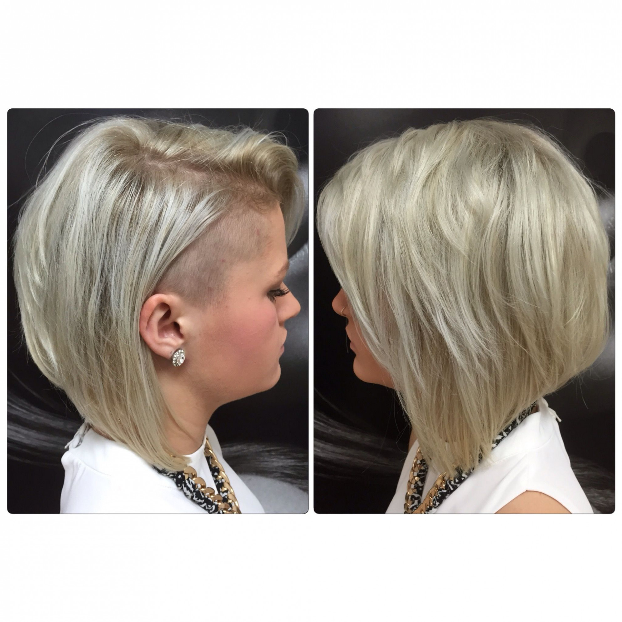 Concave platinum bob shaved side | hair by kirsty | shaved side