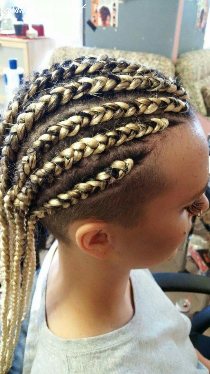 Cornrows with undercut done in platinum blonde extensions done