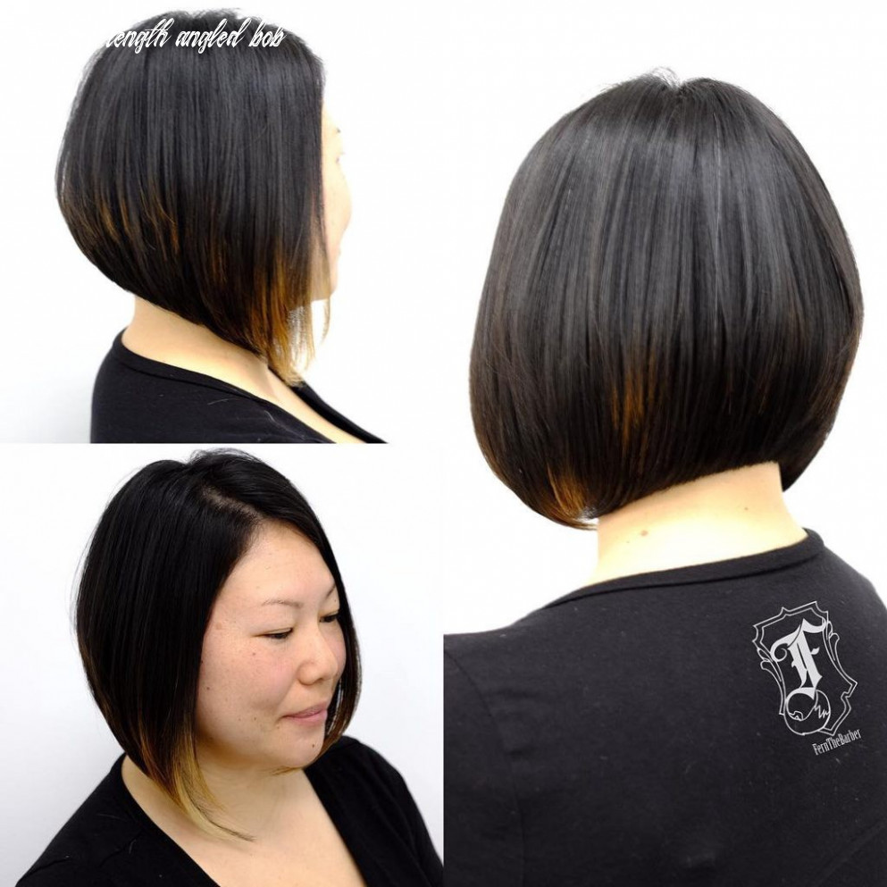 Dark angled bob with stacked layers and peek a boo highlights | by