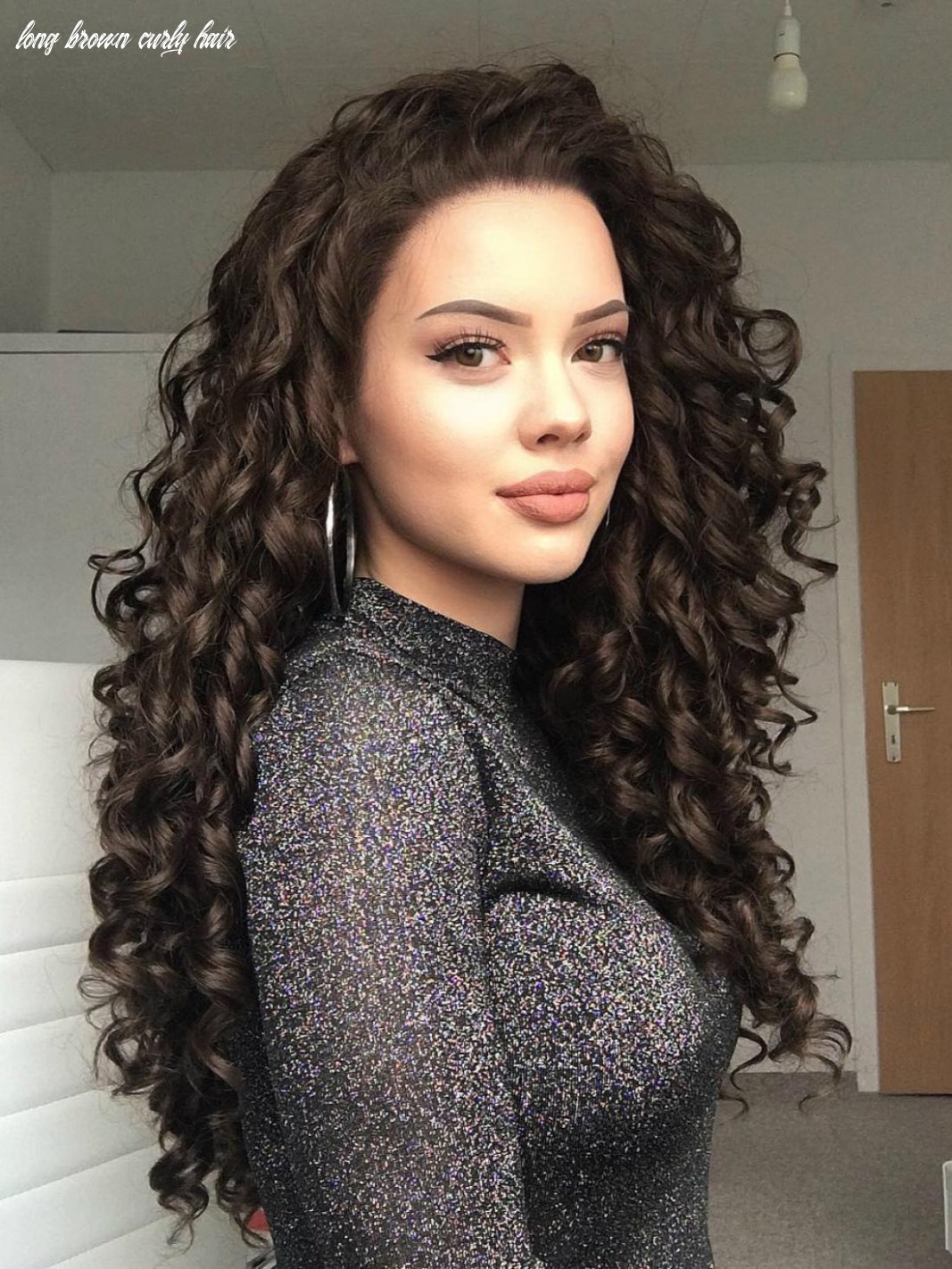 Dark brown long curly synthetic lace front wig all synthetic