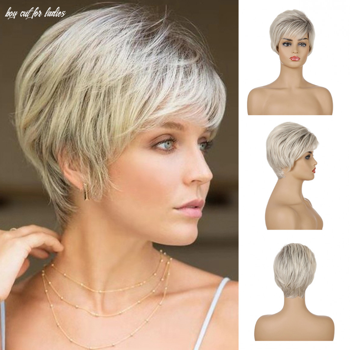 Details about short straight cropped wig layered pixie ladies boycut hairstyles blonde wigs us boy cut for ladies