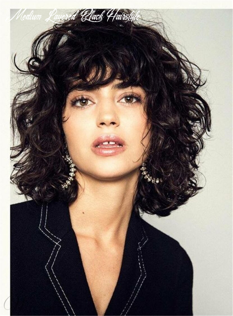 Details zu fluffy layered bob hairstyle medium charming synthetic curly hair women wigs medium layered black hairstyle