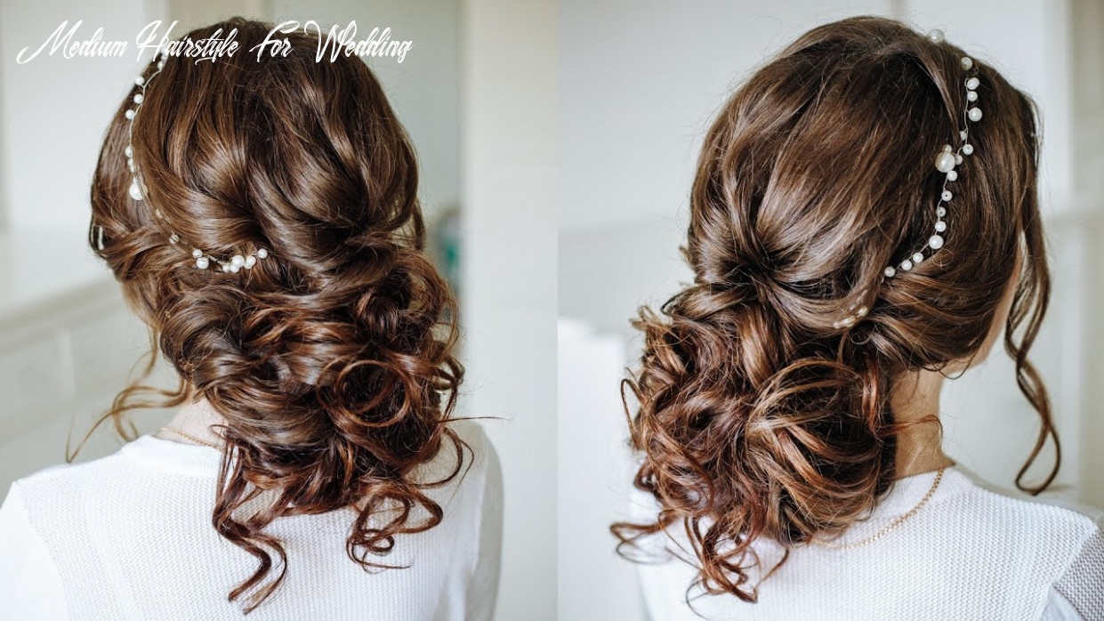 Easy romantic wedding hairstyle for long medium hair / easy loose bun updo medium hairstyle for wedding