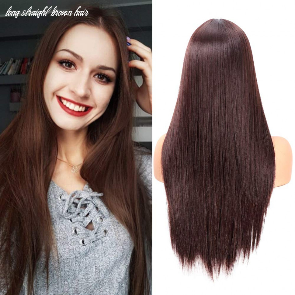 Fani 9 inch long straight dark brown wigs for women and ladies natural hairline middle part synthetic full wig (9#) long straight brown hair