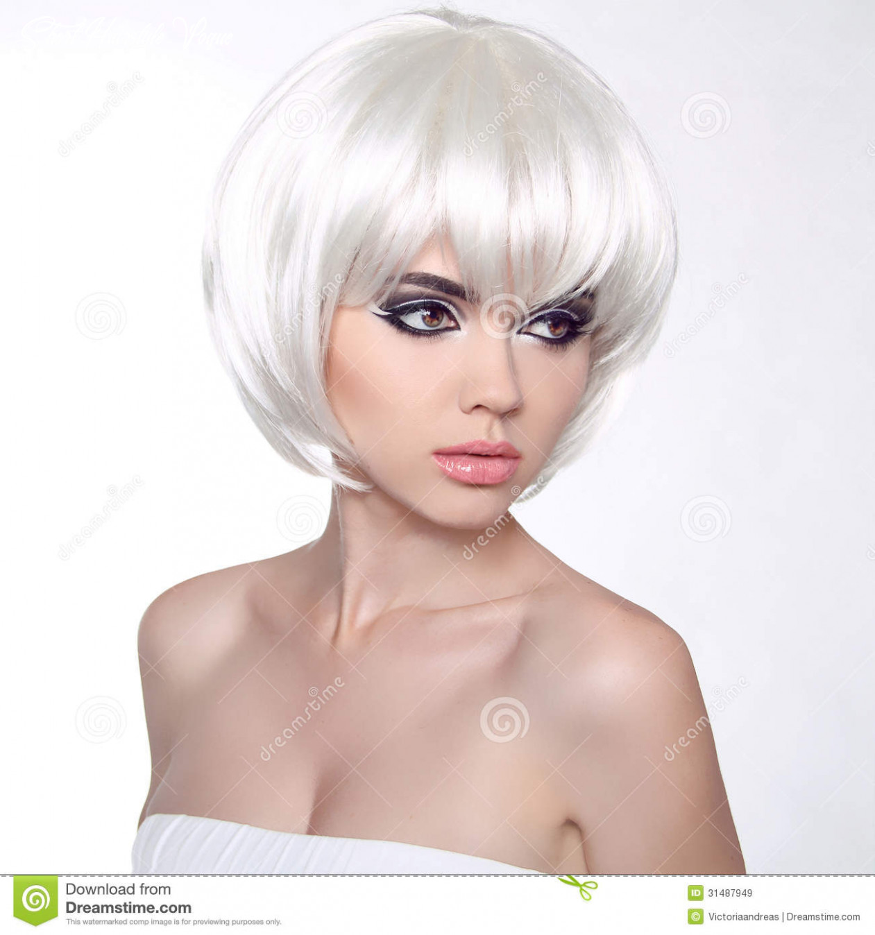 Fashion portrait with white short hair haircut hairstyle fringe