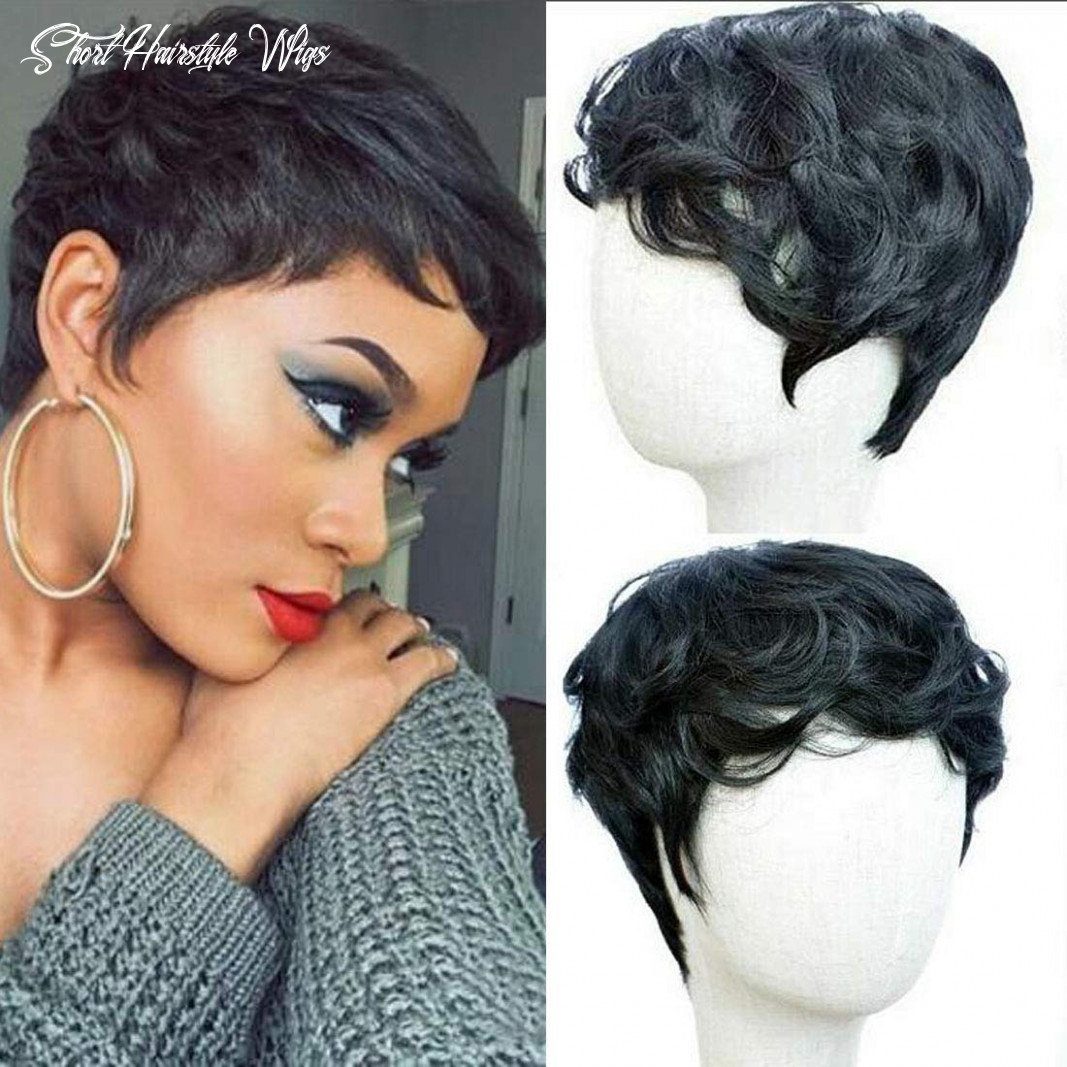 Flandi short natural synthetic hair wigs synthetic short black pixie cut wig heat resistant fiber hair for black women short hairstyle wigs