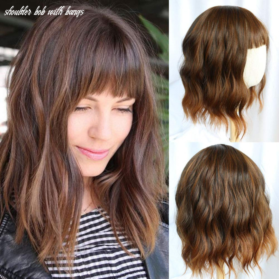 Flandi short wavy bob wigs with bangs shoulder length curly female synthetic wigs ombre brown wigs for women realistic natural look wig shoulder bob with bangs