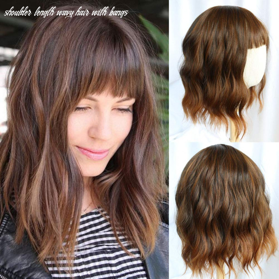 Flandi short wavy bob wigs with bangs shoulder length curly female synthetic wigs ombre brown wigs for women realistic natural look wig shoulder length wavy hair with bangs