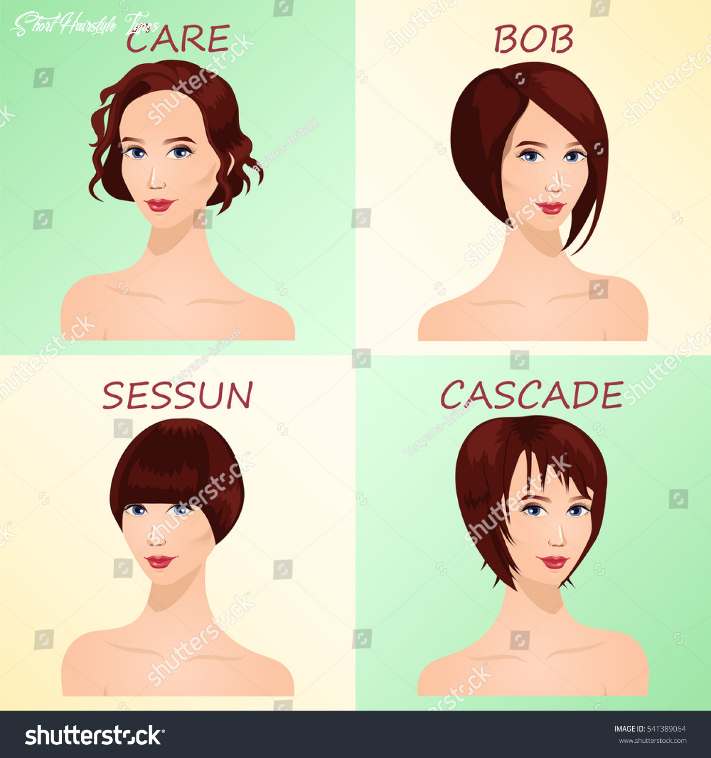 Four basic types short haircuts women stock vector (royalty free