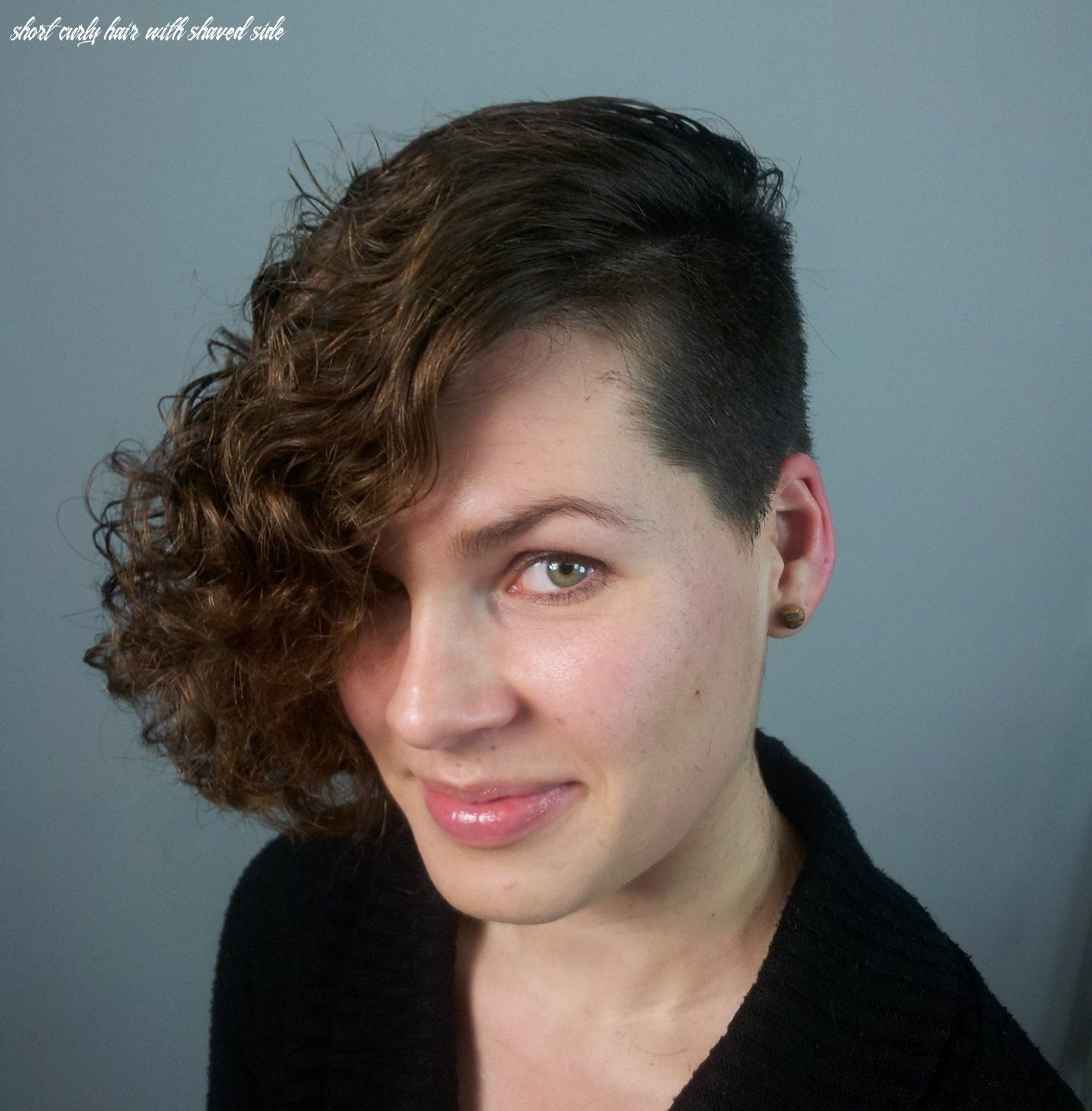Front view curly bob with shaved side | curly angled bobs, short